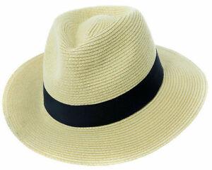 Mens Ladies Fedora Crushable Straw Panama Style Sun Hat Summer Hat 6 Sizes 57-62