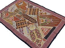 "Decorative Wall Decor - Wood Beadwork Multi Colored Patchwork Sari Tapestry 60"""