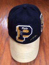 NWT POLO RALPH LAUREN VARSITY PWING LEATHER LETTERMAN 6 PANEL PIN NAVY WOOL HAT