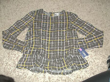 NWT Brown CHEROKEE Blouse Size XL Juniors Long Sleeved 14/16