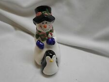 vintage Christmas holiday Snowman & Penguin Salt and pepper shakers