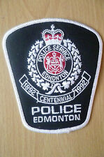 Patches: EDMONTON CENTENNIAL 1892-1992 CANADA POLICE PATCH (NEW* apx.11x10 cm)