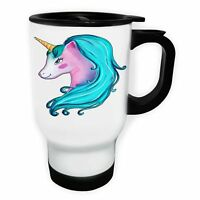 Elegant Unicorn Beauty White/Steel Travel 14oz Mug o674t