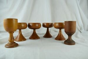 Vintage Handmade Carved Wood Goblets Chalice Shaped Lot of 6 Nice Condition!