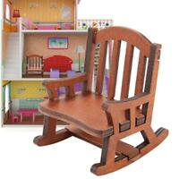 1:12 Scale Dollhouse Miniature Wooden Rocking Chair Dolls Toys Furniture Decor
