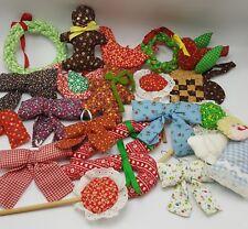 a403eaffe Calico Fabric Ornaments Lot 21 Handmade Christmas Tree Candy Cane Bows  Gingham