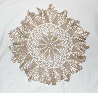 "Vintage Tan Crochet Doily 20"" Diameter"