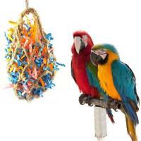Pet Bird Parrot Parakeet Bite Toy Rope Paper Hanging Cage Chewing Mesh Bag
