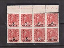 Canada #140 VF Mint Plate #115 Upper Block Of Eight