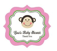 24 Pink Monkey Personalized Framed Birthday Party Baby Shower Favor Stickers