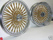 DNA MAMMOTH FAT 52 GOLD SPOKE WHEELS 18x3.5 FRONT & REAR TOURING SOFTAIL HARLEY