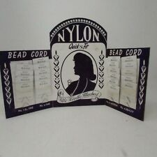 Vintage Sewing/Jewelry Store Display Cardboard Tri Fold Bead Cord Restring 1950