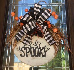 """Spooky Round Front Door Hanger Farmhouse Door Wreath Wall Halloween18"""""""