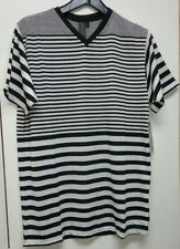 New~BURNSIDE V-Neck T-Shirt Men's Sz Medium - Black/White Striped Retail $26.00
