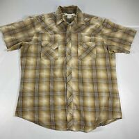 Wrangler Pearl Snap Button Up Shirt Adult Large Brown Cowboy Western Casual Men*