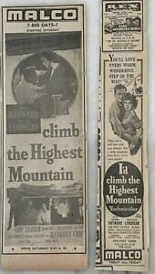 Two 1951 newspaper ads for movie I'd Climb The Highest Mountain - Susan Hayward