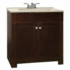 """2 Door Java Bathroom Vanity 30"""" wide w/ Hazel Solid Top and Faucet Complete Kit"""
