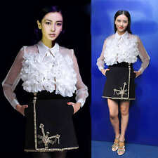 Womens Flower Ladies High-end Clear Tops Polo Neck Long Sleeve Shrits Blousers