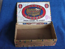 "Antique ""Lincoln Highway"" Wooden Cigar Box w ""As-Is"" Map Labels/Indianapolis"