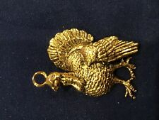 Thanksgiving Turkey Necklace Charm Pendant gold tone holiday hostess gift