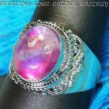 Moonstone Pink Doublet Sterling Silver 0.925 Estate Cocktail band RING size 10.5