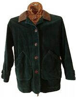 Lands End Barn Coat Jacket Corduroy Leather Collar  Flannel Lined Womens S 6-8