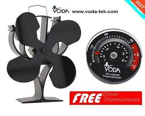 VODA Newly Designed Heat Powered Stove Fan( the black  with free thermometer)