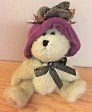 """Boyds Bear w/Purple Hat w/Flower 6"""" plush bear #3809052 ( dated 1988-2004)"""