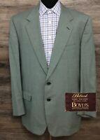 BELVEST Mens Super 100s Wool Green Blue Houndstooth Blazer Sport Coat Jacket 46R