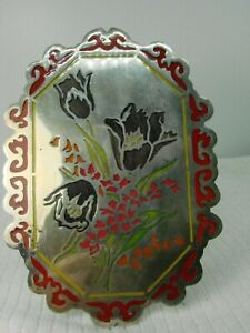 1930's Mexican Silver Hardfired Glass Enamel Self Standing Floral Plaque SUBM