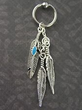 """Feather Turquoise Piercing Captive Earring 18G 3/8"""" 10mm Cartilage Helix CBR"""
