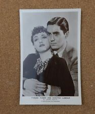 Tyrone Power & Dorothy Lamour p325  film partners  Real Photograph Postcard xc2