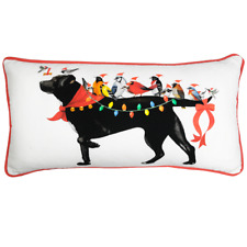 Pillow Black Lab and Birds Holiday Display 12 X 24