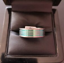 ***REDUCED*** Mens Titanium Green Stripe Ring - Size X