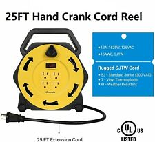 Dewenwils Extension Cord Reel Hand Wind Retractable 25 Ft Power Cord 4 Outlets