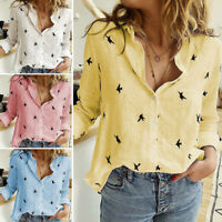 Women Long Sleeve Blouse Cotton Linen Tops Spring Summer T-Shirts Shirts Casual