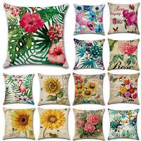 45x45cm Pillow Case Floral Plant Bed Waist Throw Sofa Car Cushion Cover Decor