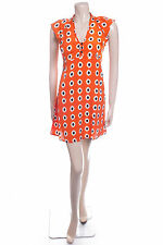 New Ladies Carbon Size 10 Orange Spot Floaty Summer Dress Bold Print