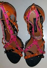 Ladies River Island Multi Studded Patent/Snake Print Leather Heel Sandals, UK 6