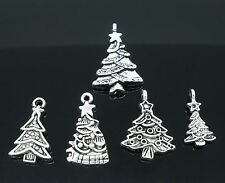 5 x Mixed Tibetan Silver Christmas Tree Silver Plated Pendant Charms Xmas