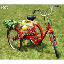 24 Zoll Dreirad für Erwachsene Rot Einkaufs -Dreirad Seniorenrad Senioren Farrad