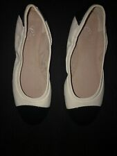 Easy Spirit e360 Ballet Flats Black Patent Leather Toe And White Leather Shoe 9W