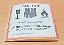 10 PACK - Caution! Lithium Battery Do Not Load Warning Label (120 x 110mm)
