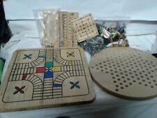 Mixed lot vintage wood gameboards/ tokens dominoes checkers chess pieces parts