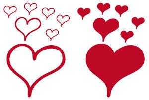 Herzen - Wandtattoo Aufkleber versch Farben & Größen