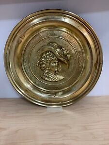 Vintage Large Solid Embossed Brass Wall Hanging Plate Plaque Lombard England