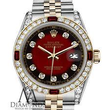 26mm ROLEX LADIES DIAMOND DATEJUST RED VIGNETTE 18K YELLOW GOLD SS WATCH