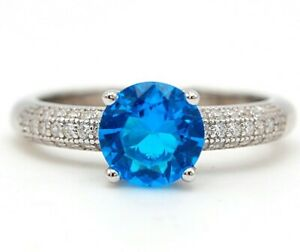 3CT Blue Topaz & Topaz 925 Solid Sterling Silver Ring Jewelry Sz 6 VL3