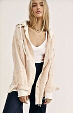Free People Sweatshirt Jacket Hood Calico Basin Easy Fit Ivory Pink Stripe S NEW