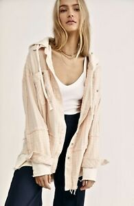 Free People Top Jacket Hooded Buttondown Calico Basin Ivory Pink Stripe XS NEW